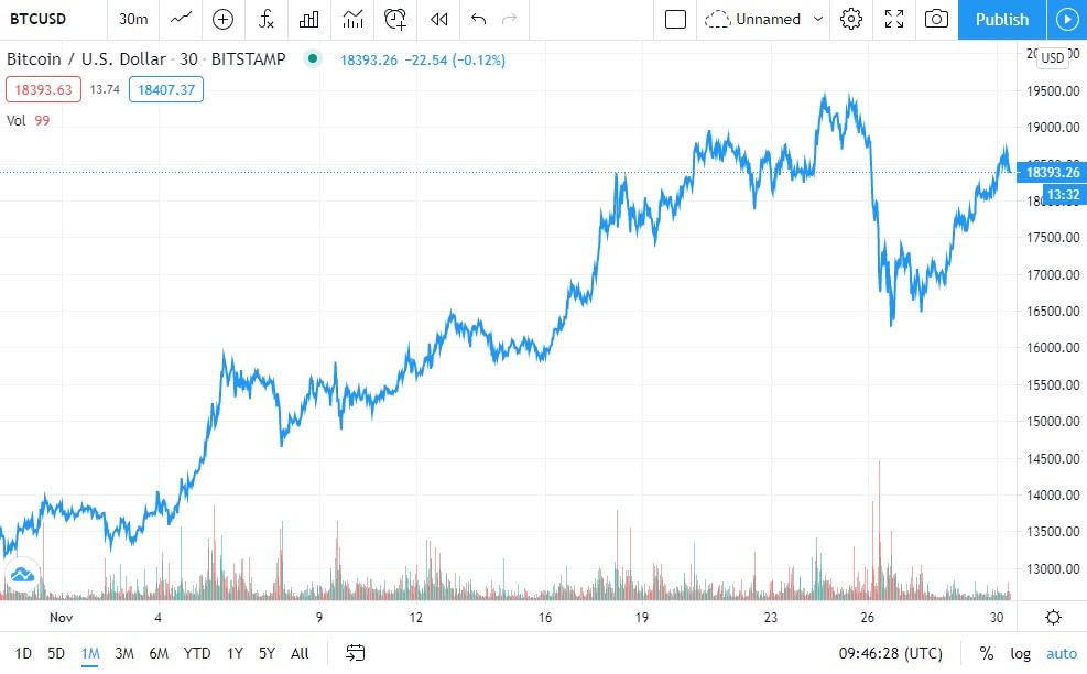 Bitcoin Price Chart 1-Month (Source: TradingView)