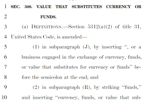 Section 308 of the U.S. 2021 Defence Bill