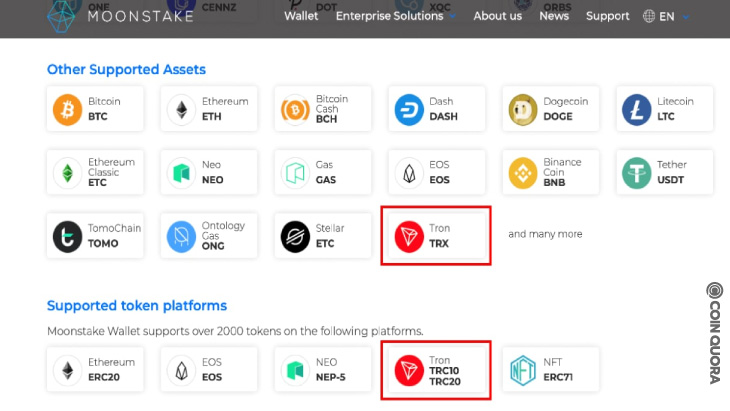 Moonstake Wallet Now Supports Staking of TRX